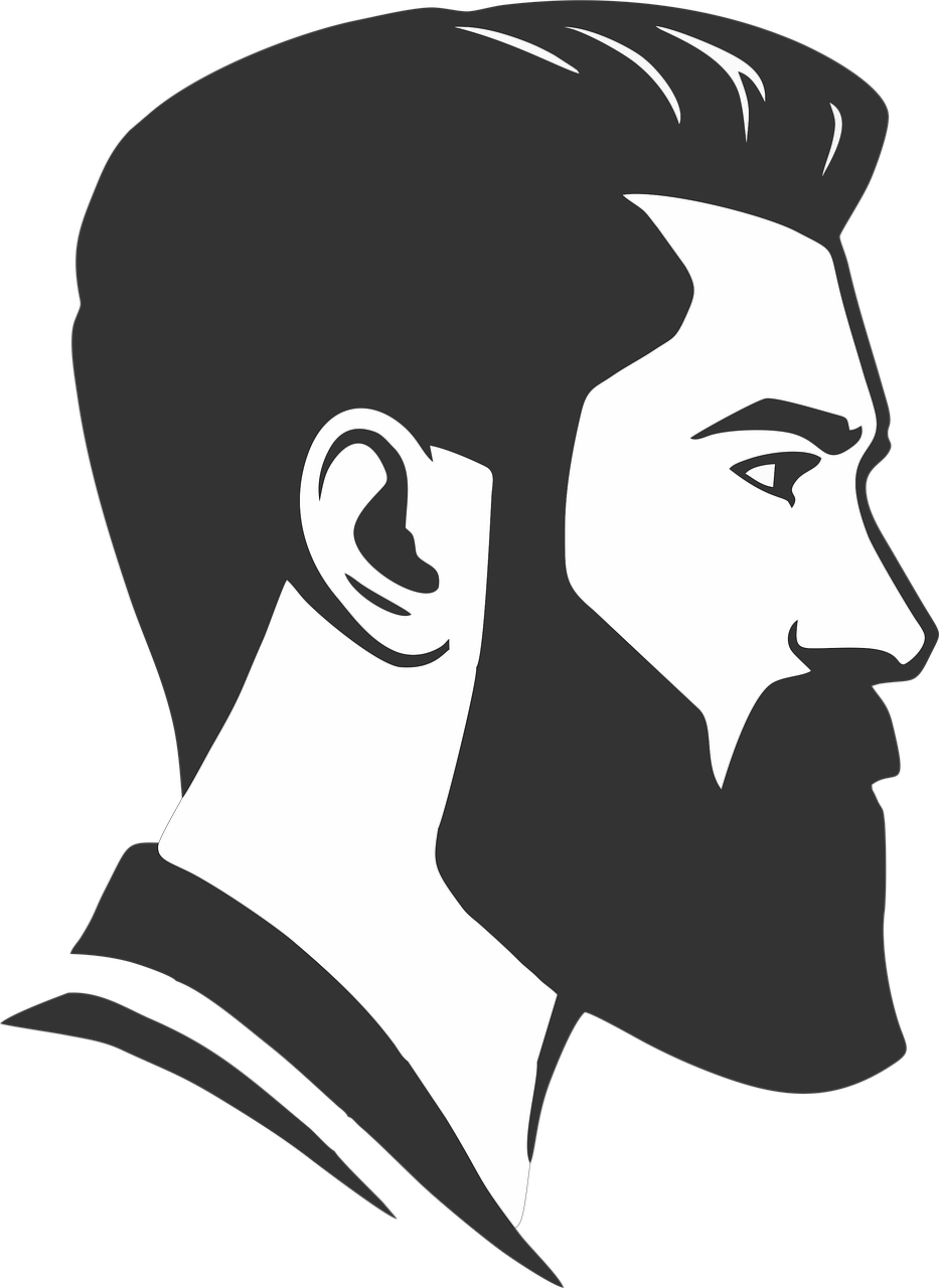 clipart transparent Beard clipart man bun. Clip art barbershop transprent