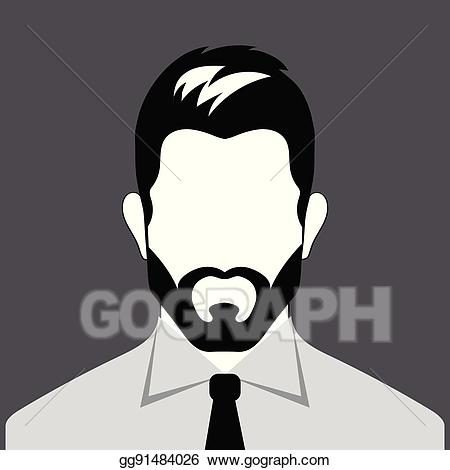 image black and white download Vector illustration avatar bearded. Beard clipart man profile