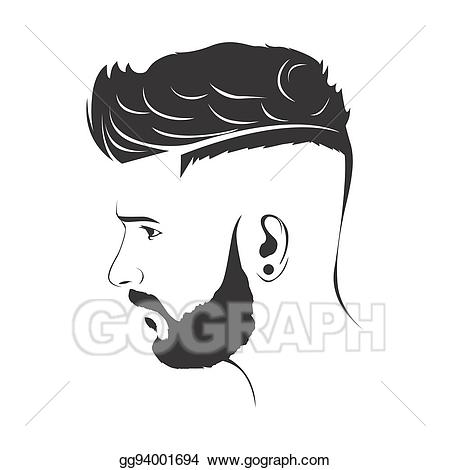 jpg library library Stock illustrations men haircut. Beard clipart mens hairstyle