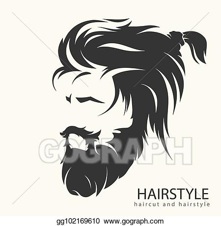 black and white download Beard clipart mens hairstyle. Eps vector with a.