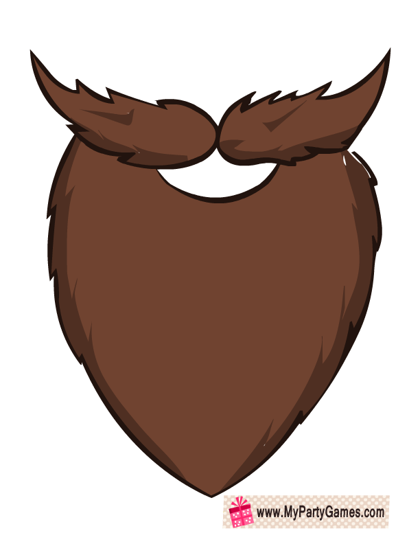 banner stock Free printable brown prop. Beard clipart photo booth.