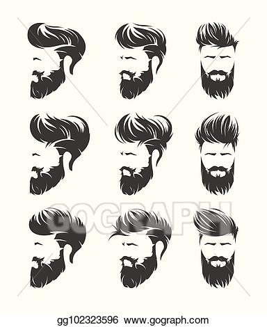 svg royalty free Beard clipart pompadour haircut. Vector illustration mens hairstyles