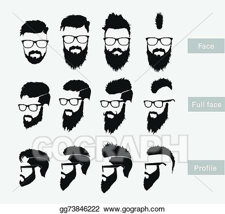 graphic library Beard clipart profile. Vector art hairstyles with