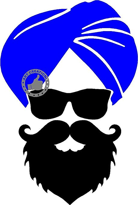 picture black and white download Art creations ji blue. Beard clipart sardar