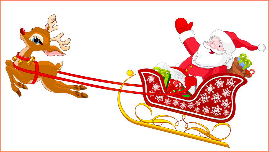 png royalty free stock Amazing santa and reindeer. Beard clipart style