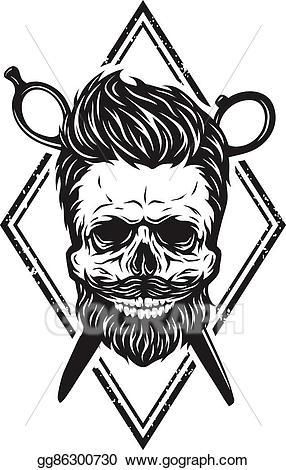vector library Vector stock skull with. Beard clipart stylish