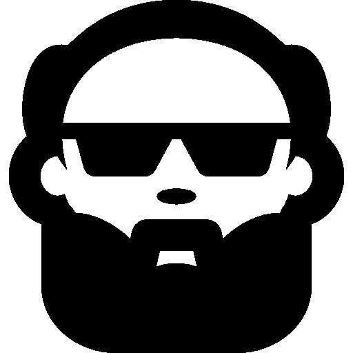 jpg library library Bald man face with. Beard clipart sunglass