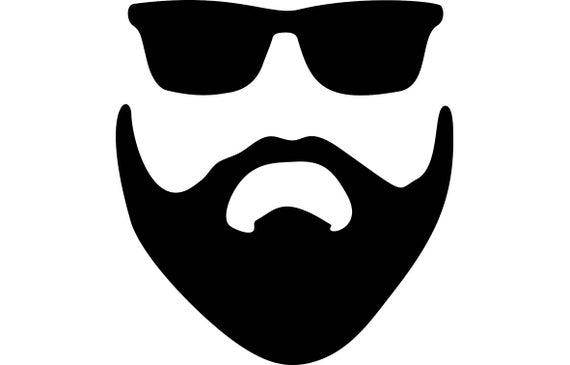 graphic black and white Style face male hairstyle. Beard clipart vector.