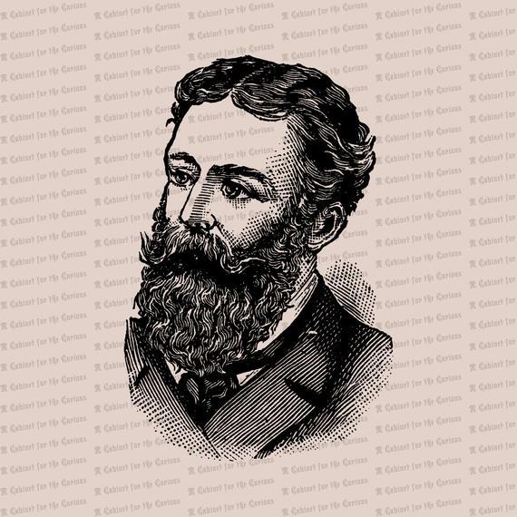 svg freeuse stock Beard clipart vintage. Digital bearded victorian man.
