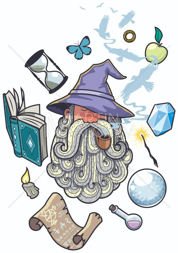 banner transparent library Beard clipart wizard. Portrait vector cartoon illustration