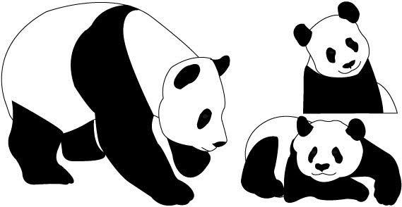 banner black and white Cute free . Panda bear clipart black and white