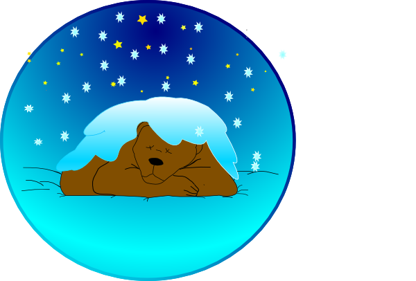 png library stock Bear sleeping clipart. Under stars with snow