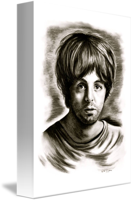 clip royalty free library Drawing portrait black and white. Paul mccartney in by