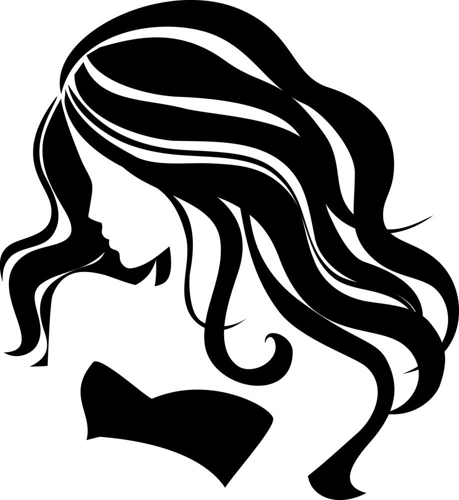 clipart transparent download Beauty clipart long hair. Girl clip art silhouettes.