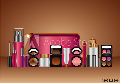 transparent Beauty vector makeup item. Cosmetic products fashion illustration