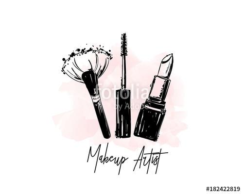 jpg royalty free Artist logo banner business. Beauty vector makeup item