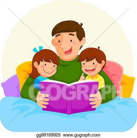 clip art royalty free library Bedtime story clipart. Vector stock with dad