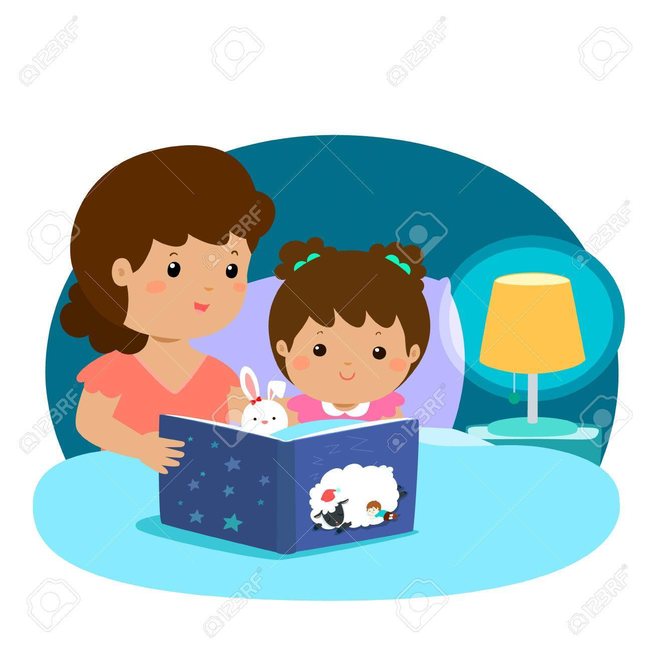 clip art freeuse library A vector illustration of. Bedtime story clipart