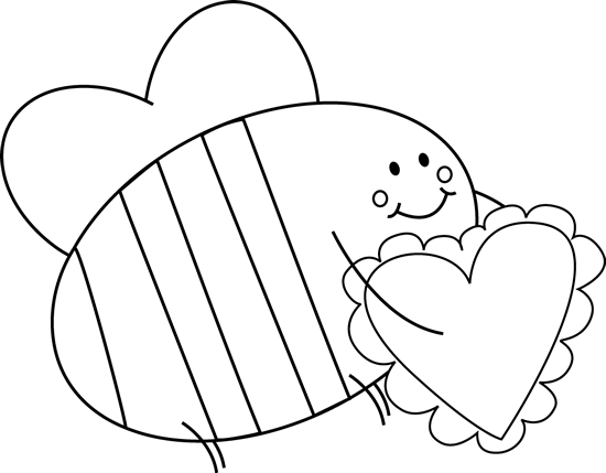 image free download Heart clipart black. And white bee carrying