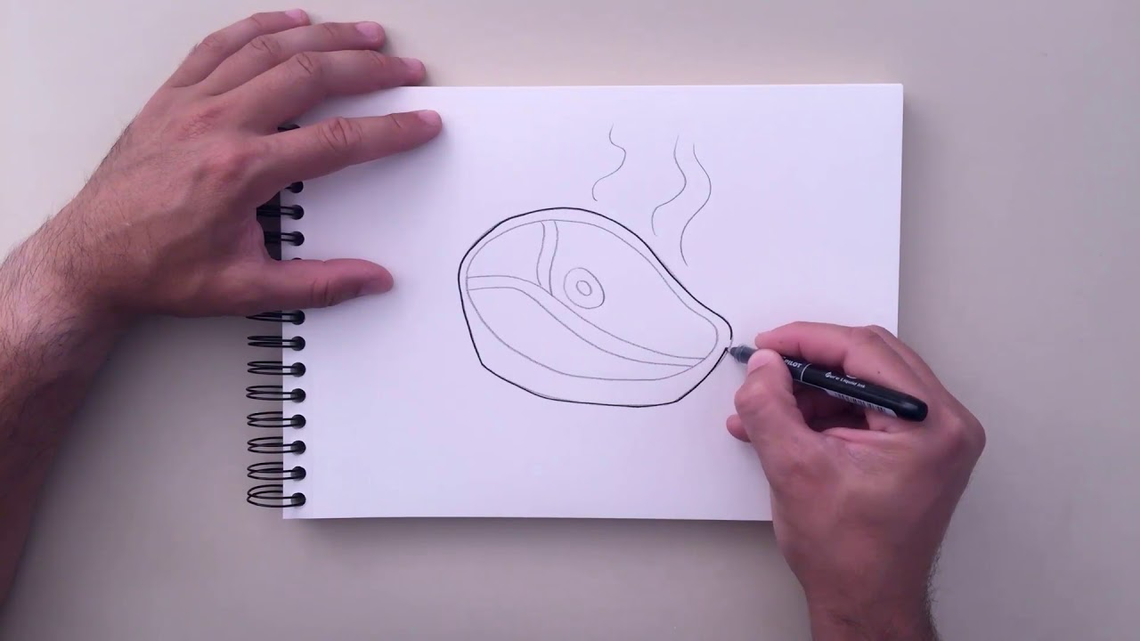 vector freeuse stock How to draw steak. Beef drawing