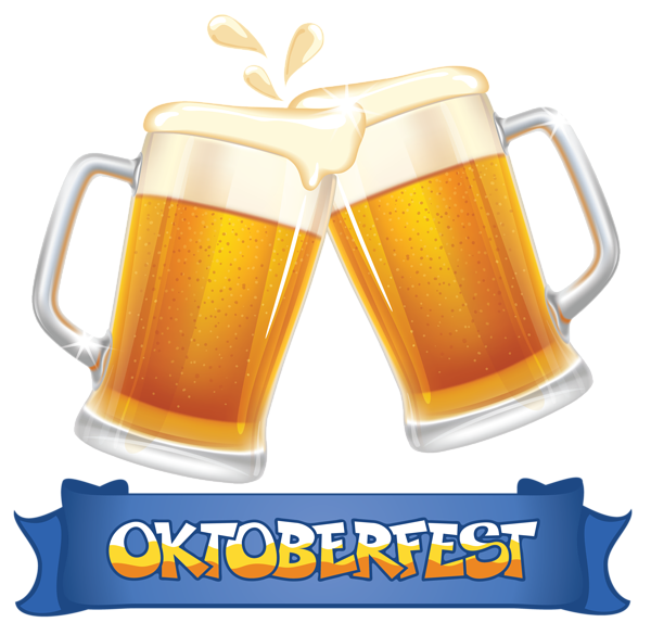 image download Oktoberfest Blue Banner and Beers PNG Clipart Image