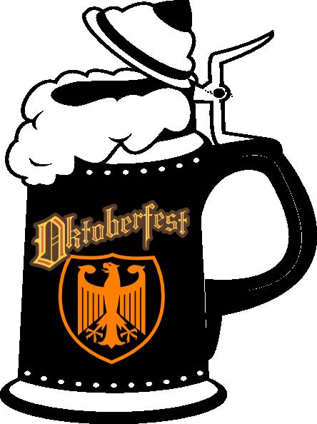 banner black and white Oktoberfest Beer Mug Clipart