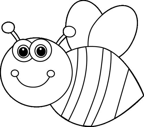 vector Black and White Cute Cartoon Bee Clip Art