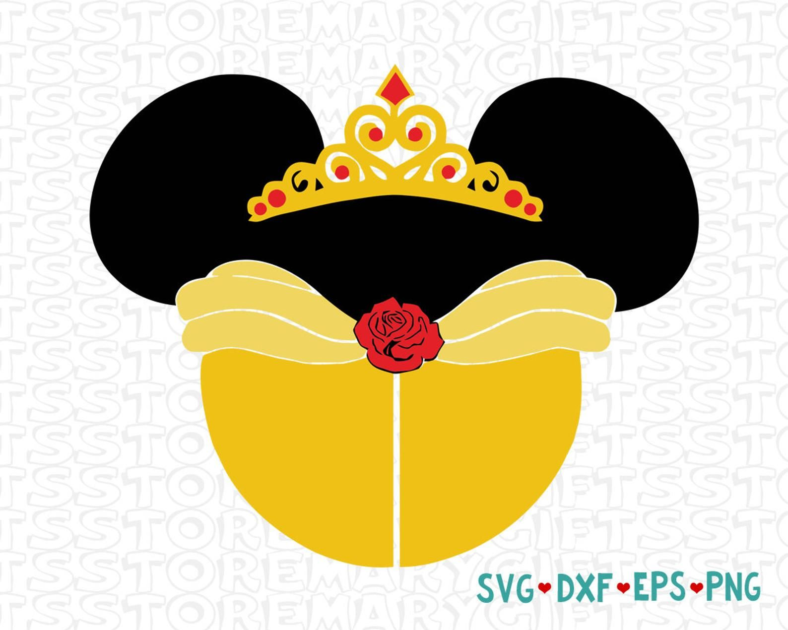 clipart library Belle svg mickey ear. Disney beauty princess icon