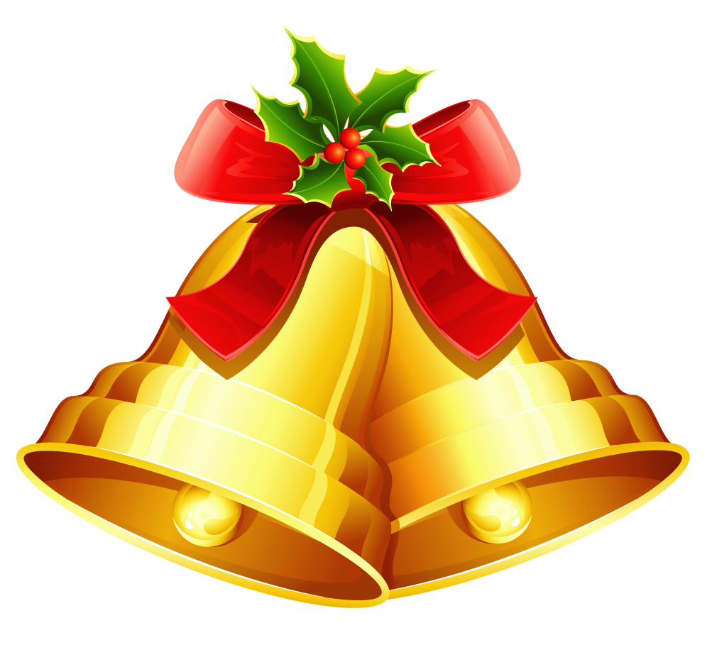 png Christmas golden ornament png. Bells clipart.