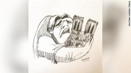graphic black and white stock Quasimodo cradling his beloved. Bells drawing fire