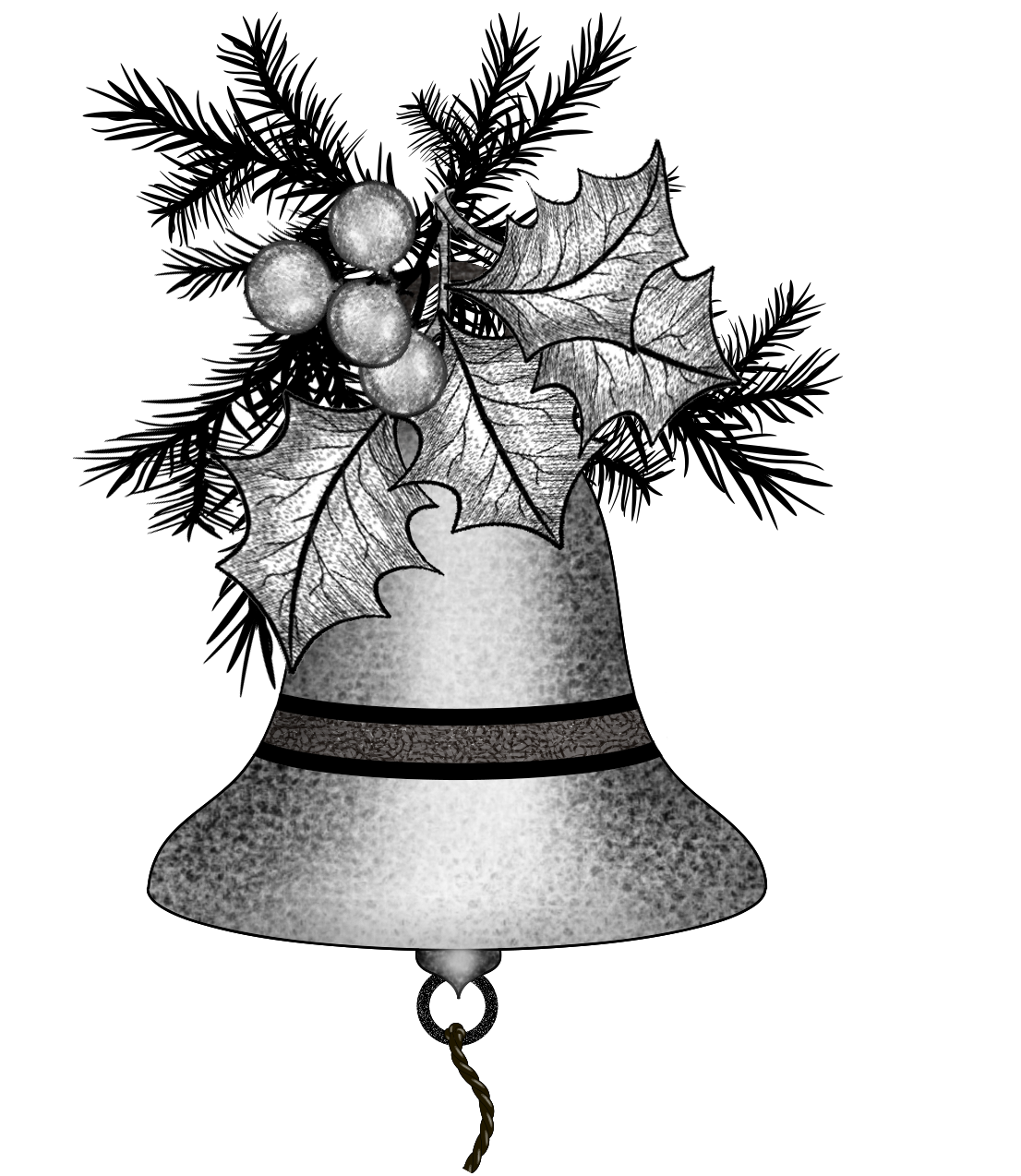 jpg library library Christmas png file. Bells drawing illustration
