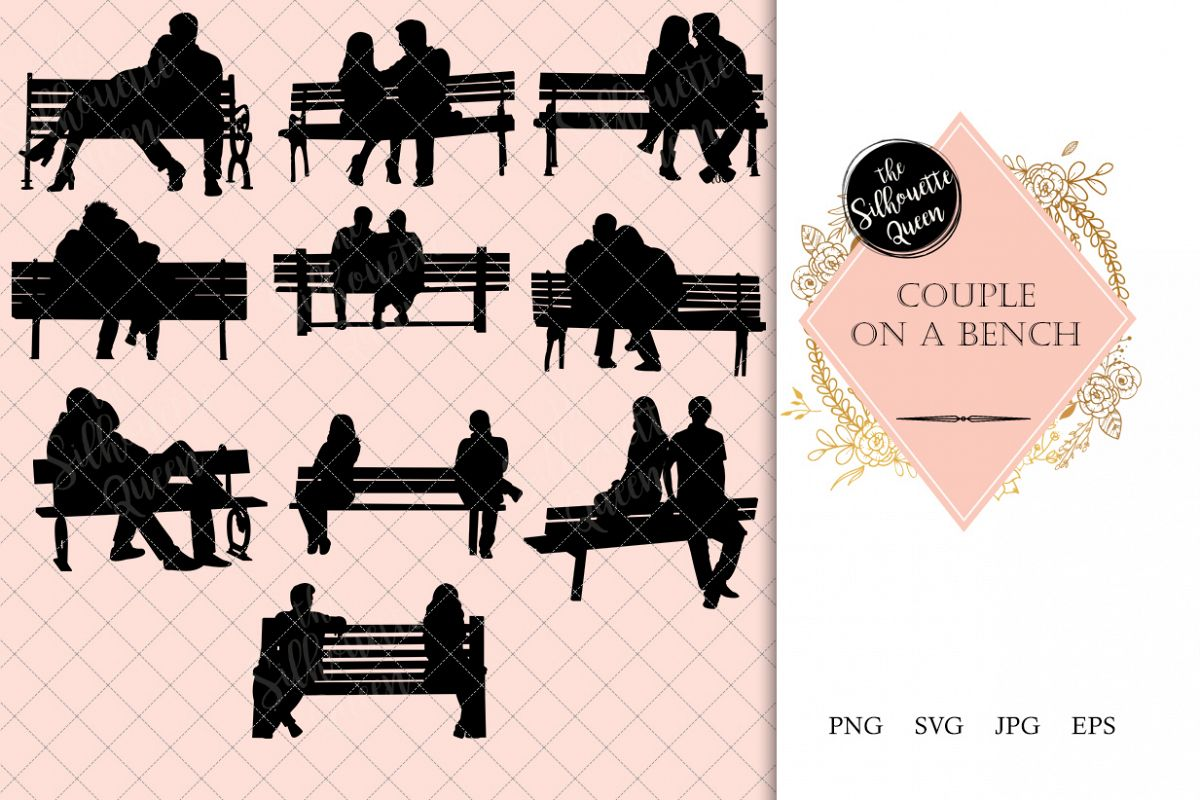 jpg freeuse library Couple on a silhouette. Bench vector
