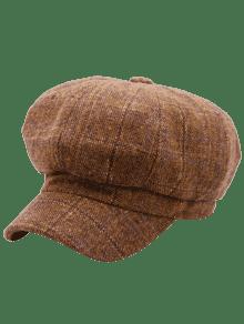 picture stock Tartan Pattern Embellished Woollen Beret Hat COFFEE