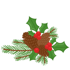 picture royalty free Berries clipart cute. Pinecones holly scrapbook clip