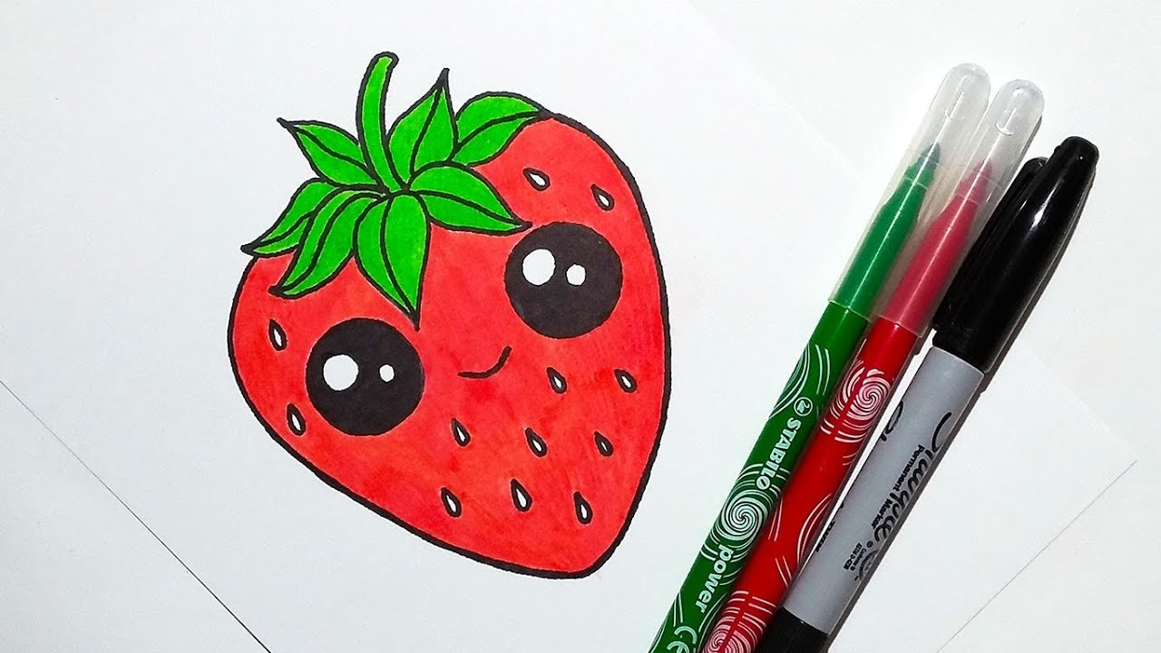 svg free stock Drawing strawberries cute. How to draw a