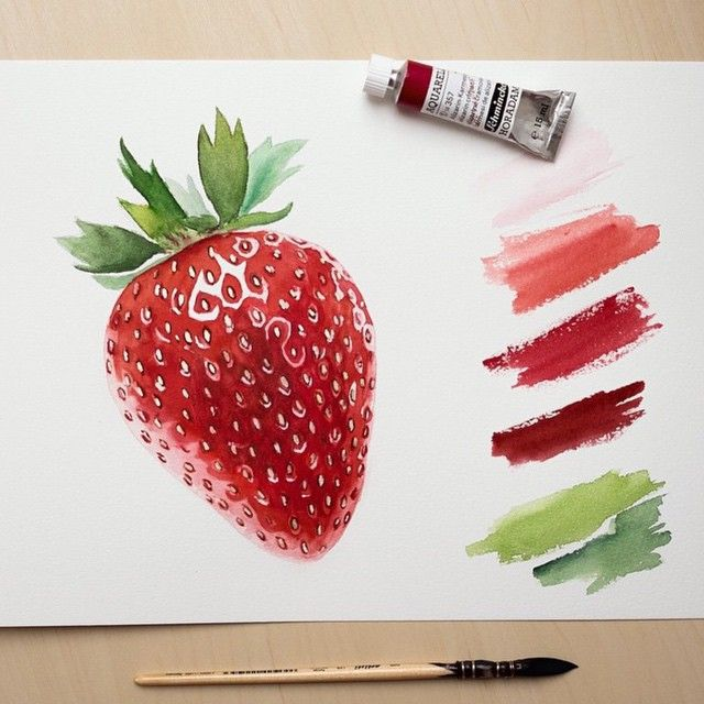 transparent stock Drawing strawberries realistic. Beautiful watercolor oil painting