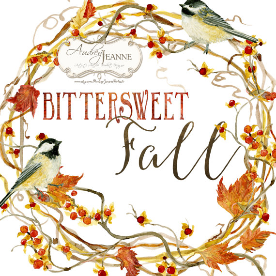 graphic black and white stock Watercolor fall wreath digital. Berry clipart bittersweet.