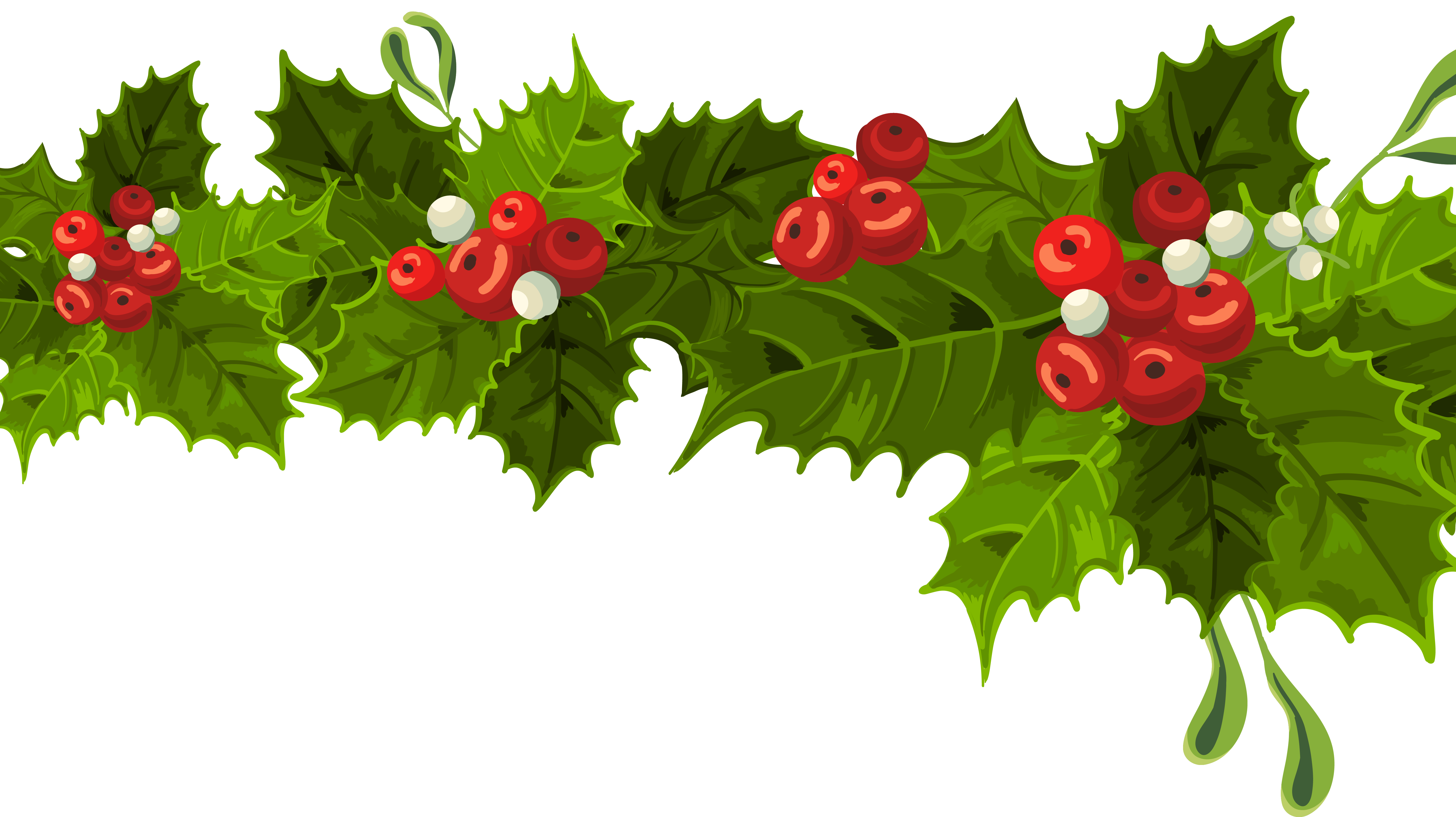 png library stock Transparent long mistletoe decoration. Berry clipart christmas.