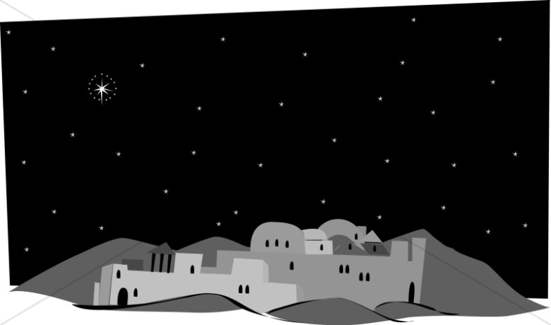 picture royalty free Grayscale town of nativity. Bethlehem clipart.