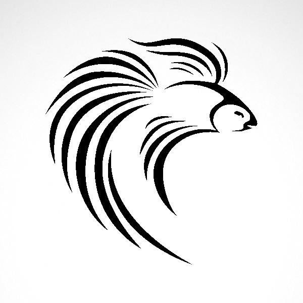 banner black and white library Simple color vinyl Betta Splendens Siamese