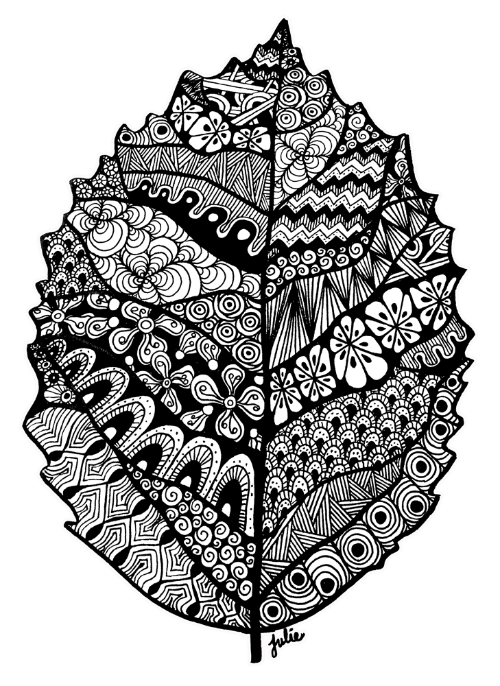 clipart royalty free stock Leaf Zentangle Drawing by starliteyes