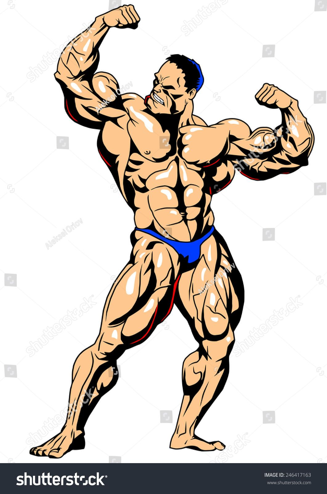 png free Muscular bodybuilder shows a. Bicep drawing bodybuilding