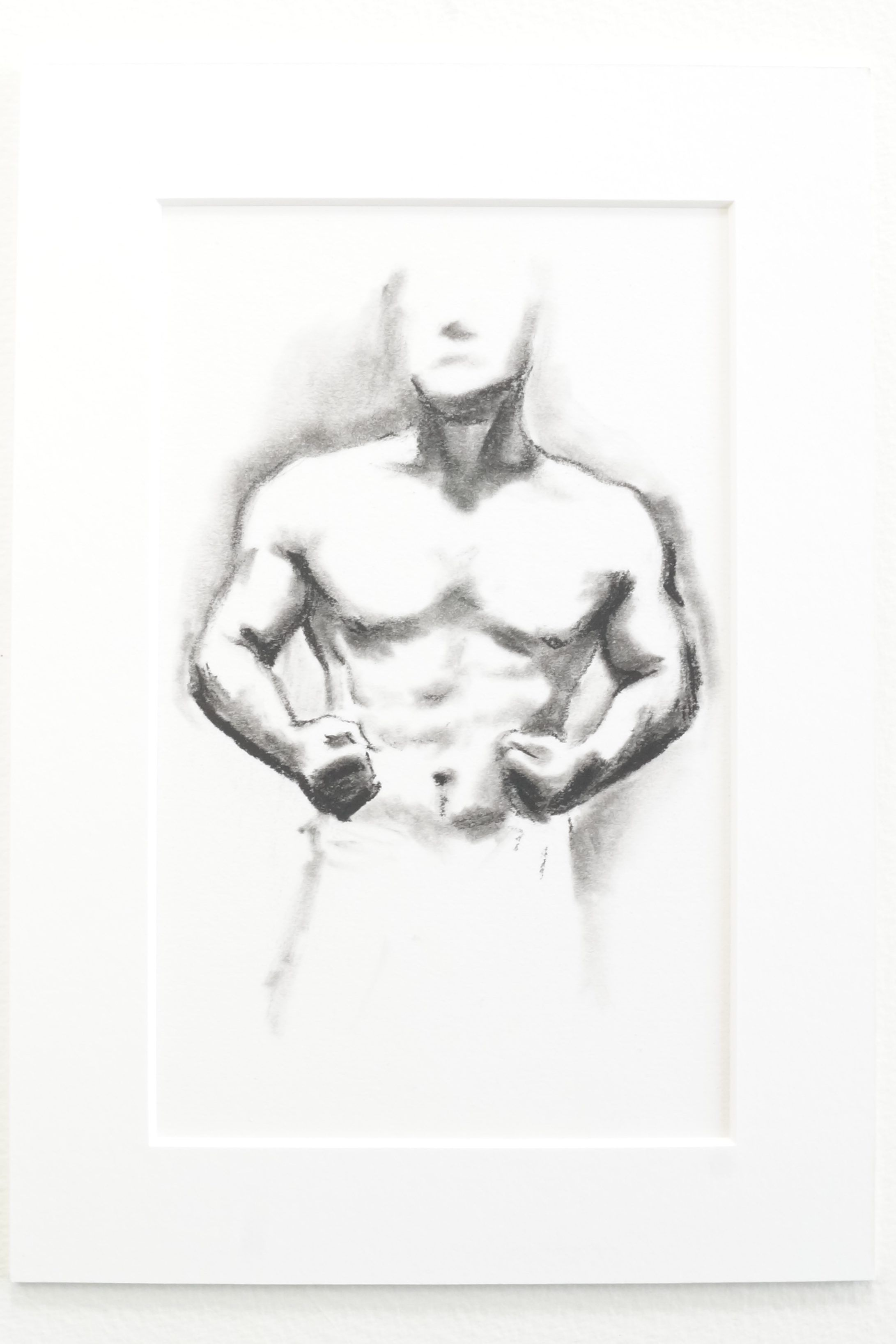 vector free stock Muscle study in monochromatic. Bicep drawing charcoal