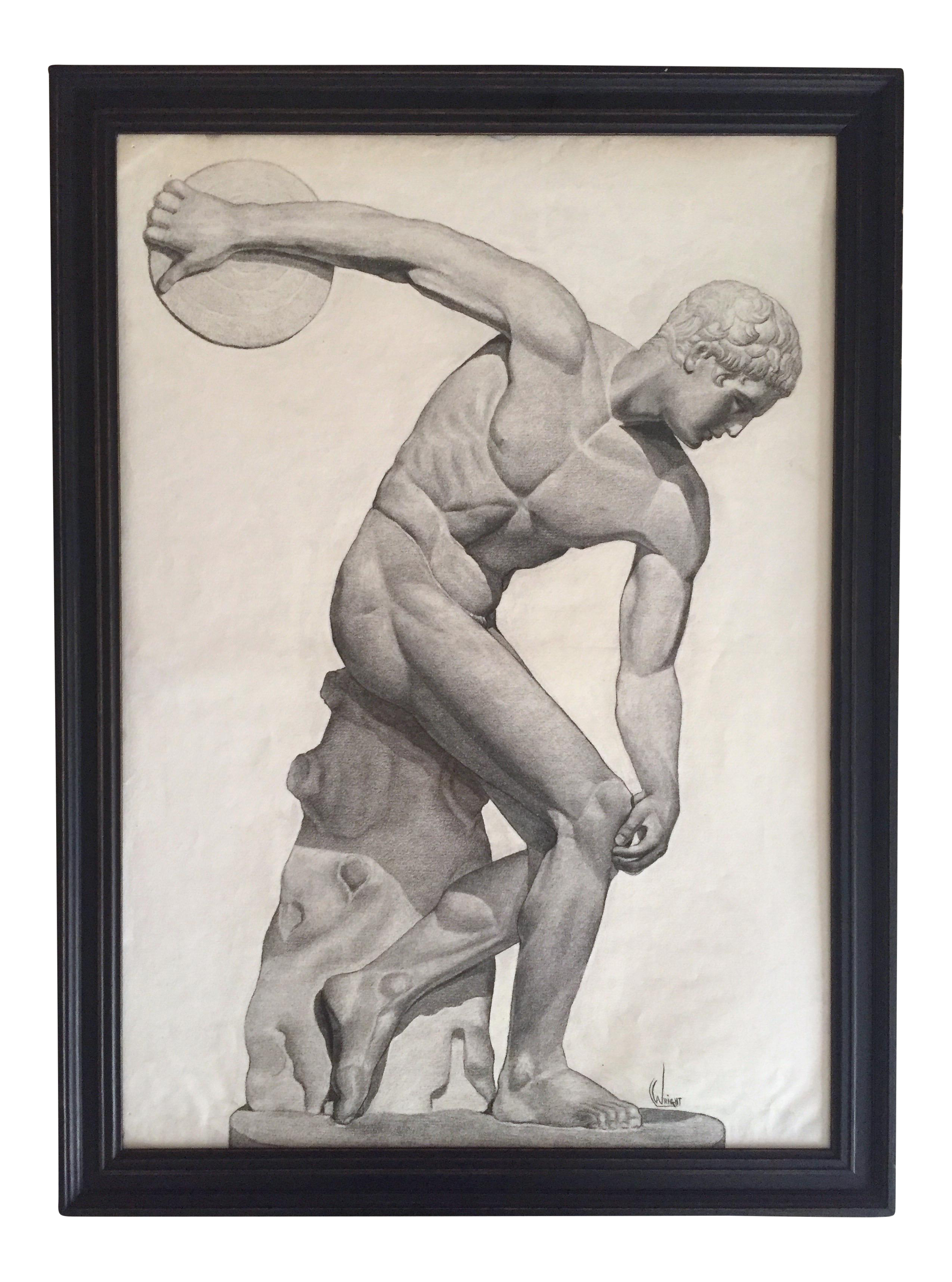 vector black and white Vintage s discus thrower. Bicep drawing charcoal