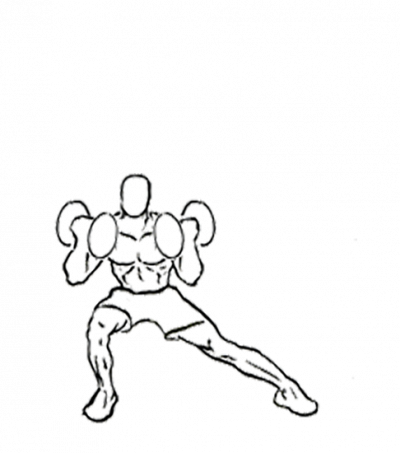 png download Lateral lunge with curl. Bicep drawing tricep