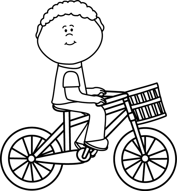 image black and white Black white boy riding. Bicycle clipart toddler bike.