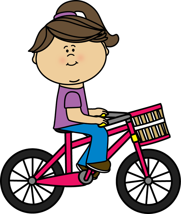 clip art freeuse Girl riding a with. Bicycle clipart toddler bike.