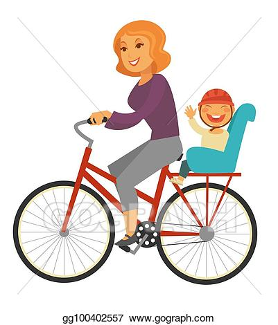 banner free download Biking clipart baby. Vector mother rides bicycle