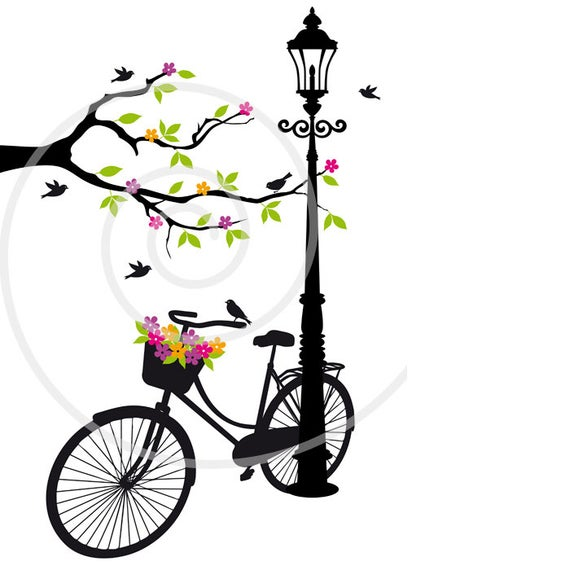 jpg free stock Biking clipart tree. Vintage bicycle with flowers.