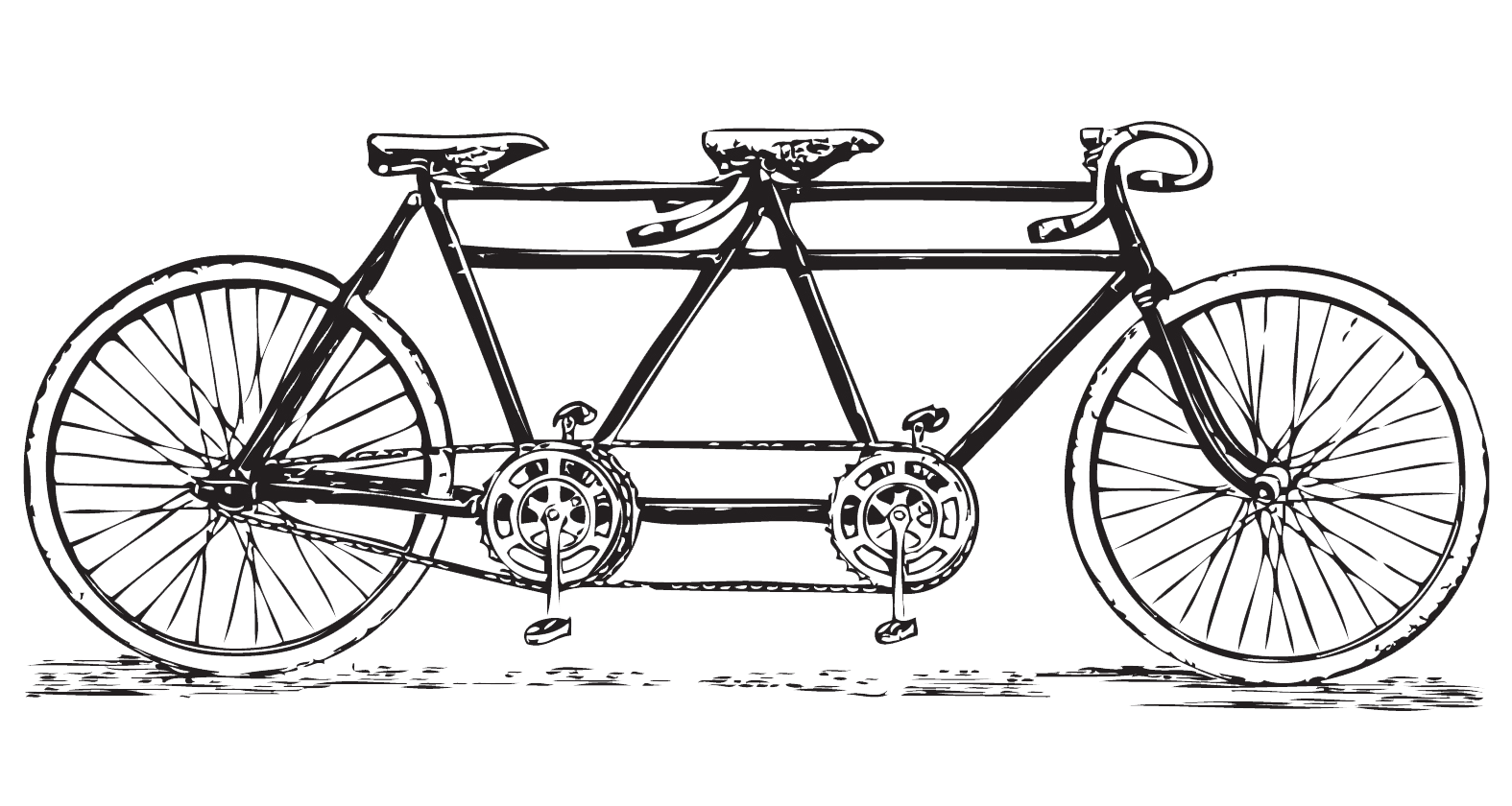 vector black and white stock Retro tandem free antique. Biking clipart vintage bicycle.